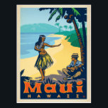 "Maui, Hawaii | Hula Girl &amp; Ukele Postcard<br><div class=""desc"">Anderson Design Group is an award-winning illustration and design firm in Nashville,  Tennessee. Founder Joel Anderson directs a team of talented artists to create original poster art that looks like classic vintage advertising prints from the 1920s to the 1960s.</div>"