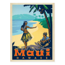 Maui, Hawaii | Hula Girl & Ukele Postcard