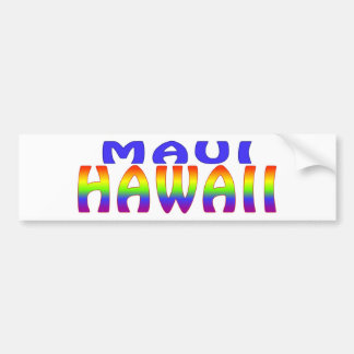 Maui Hawaii rainbow words Car Bumper Sticker