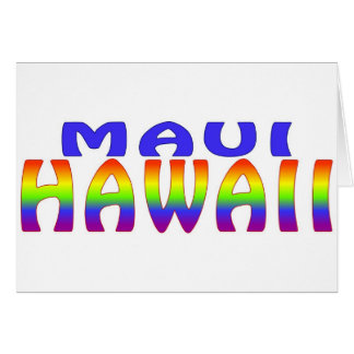 Maui Hawaii rainbow words Card