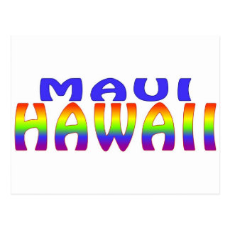 Maui Hawaii rainbow words Postcard