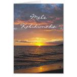 Maui Hawaii Sunset, Mele Kalikimaka, Christmas Greeting Card