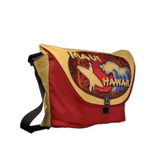 Maui Hawaii surfer waves art messenger bag