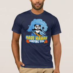 Men's Basic American Apparel T-Shirt with Maui Surfing Panda design