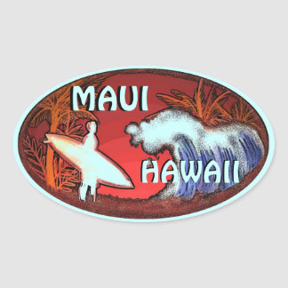 Maui Hawaii teal surfer waves art stickers