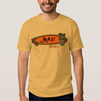 Maui Hawaii tiki surfboard art guys tee