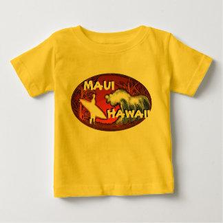 Maui Hawaii yellow baby surfer waves art tee