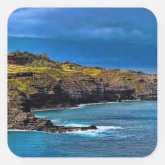 Maui Hi Beach Coastline 2014 Square Stickers