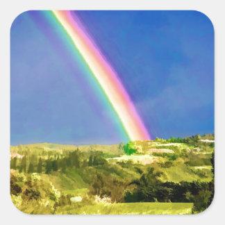 Maui Hi Beach Rainbow 2014 Square Sticker