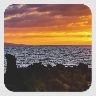Maui Hi Beach Sunset 2014 Square Stickers