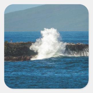 Maui Hi Beach Waves 2014 Square Stickers