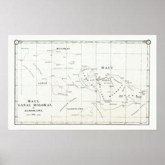 Maui, Lanai, mapa 1890 del vintage de Molokai, Kah Impresiones