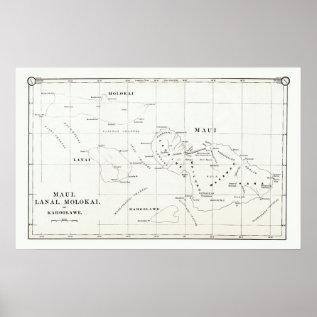 Maui, Lanai, Molokai, Kahoolawe Vintage Map 1890 Poster at Zazzle