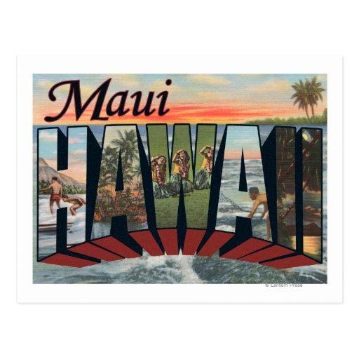 Maui, letra ScenesMaui, HI de HawaiiLarge Tarjeta Postal