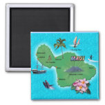 Maui Map 2 Inch Square Magnet