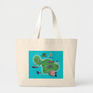 Maui Map Large Tote Bag