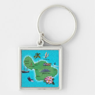 Maui Map Silver-Colored Square Keychain