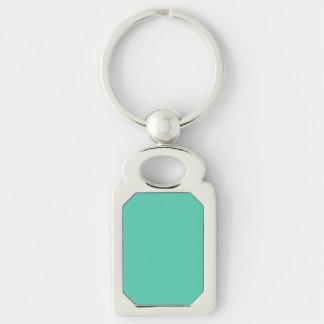 Maui Mint Green Seafoam Silver-Colored Rectangular Metal Keychain