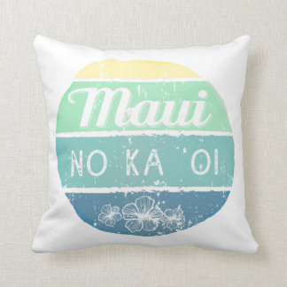 Maui No Ka Oi Vintage Typography Throw Pillow