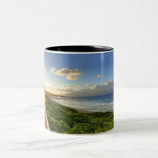 Maui. Path to sunset. Oneloa Beach. Two-Tone Coffee Mug