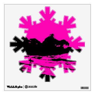 MAUI PINK MORNING XMAS WALL DECALS, SNOWFLAKE WALL STICKER