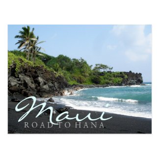 Maui Road to Hana black sand beach text postcard