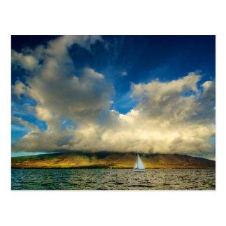 Maui Sailboat Cloudscape Postcard