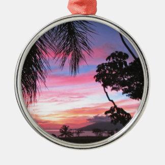 Maui sunset metal ornament