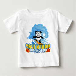 Baby Fine Jersey T-Shirt with Maui Surfing Panda design