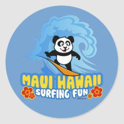 Round Sticker with Maui Surfing Panda design