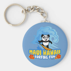 Basic Button Keychain with Maui Surfing Panda design