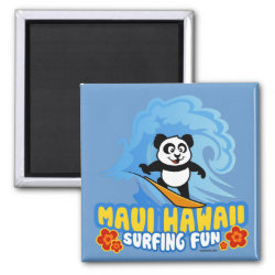 Square Magnet with Maui Surfing Panda design