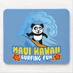 Mousepad with Maui Surfing Panda design