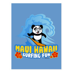 Postcard with Maui Surfing Panda design
