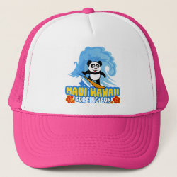 Trucker Hat with Maui Surfing Panda design