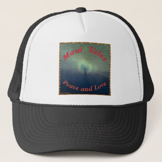 Maui Tales.Peace and Love Trucker Hat