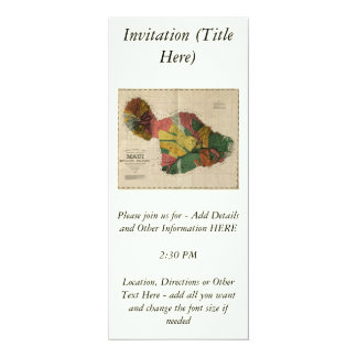 Maui - Vintage Antiquarian Hawaii Survey Map, 1885 4x9.25 Paper Invitation Card