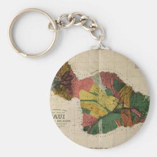 Maui - Vintage Antiquarian Hawaii Survey Map, 1885 Basic Round Button Keychain