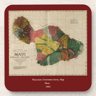 Maui - Vintage Antiquarian Hawaii Survey Map, 1885 Beverage Coaster