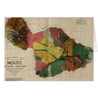 Maui - Vintage Antiquarian Hawaii Survey Map, 1885 Card