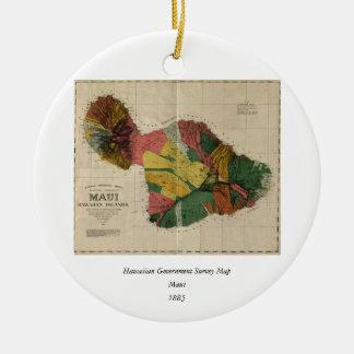 Maui - Vintage Antiquarian Hawaii Survey Map, 1885 Ceramic Ornament