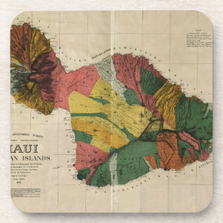 Maui - Vintage Antiquarian Hawaii Survey Map, 1885 Coaster