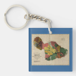 Maui - Vintage Antiquarian Hawaii Survey Map, 1885 Keychain