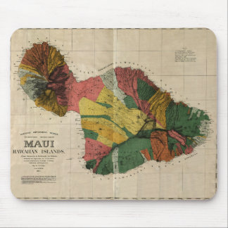 Maui - Vintage Antiquarian Hawaii Survey Map, 1885 Mouse Pad