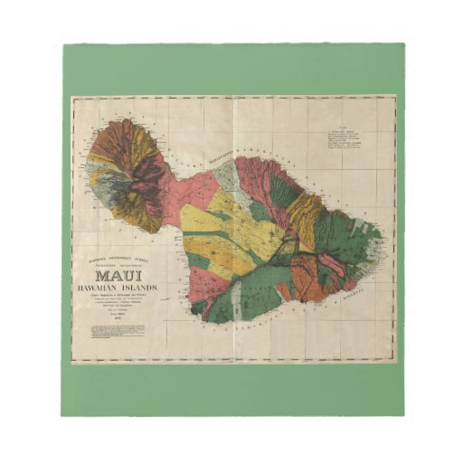 Maui - Vintage Antiquarian Hawaii Survey Map, 1885 Memo Note Pads
