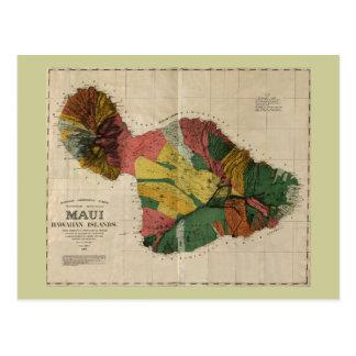 Maui - Vintage Antiquarian Hawaii Survey Map, 1885 Postcard