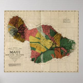 Maui - Vintage Antiquarian Hawaii Survey Map, 1885 Poster
