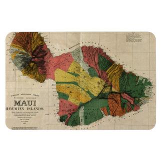 Maui - Vintage Antiquarian Hawaii Survey Map, 1885 Rectangular Photo Magnet