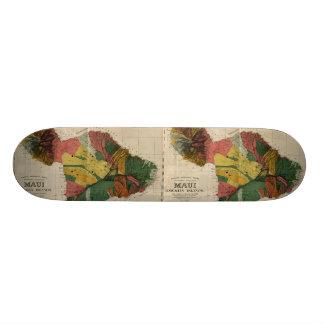 Maui - Vintage Antiquarian Hawaii Survey Map, 1885 Custom Skateboard