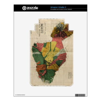 Maui - Vintage Antiquarian Hawaii Survey Map, 1885 Decal For Kindle 3